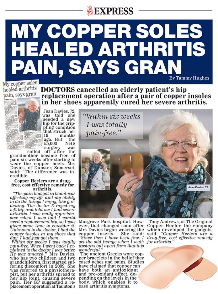 My copper soles healed arthritis pain, says gran